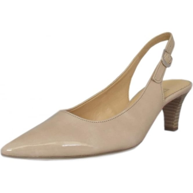 Gabor Hume 2 Pointed Toe Sling Back Shoes In Sand