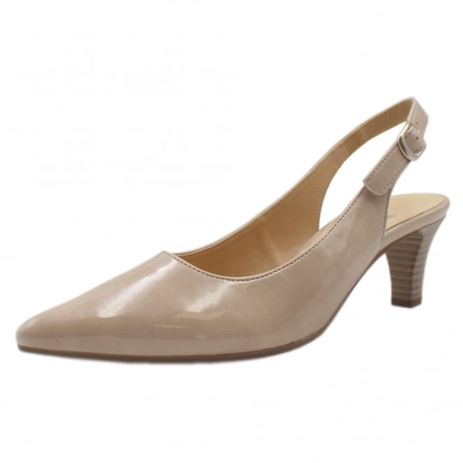 Gabor Hume 2 Stylish Pointed Toe Sling Back Shoes In Sand Patent