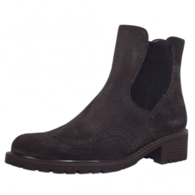 Gabor Imagine Brogue Style Wide Fit Ankle Boots in Dark Grey Suede
