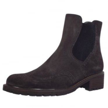 Imagine Brogue Style Wide Fit Ankle Boots in Dark Grey Suede