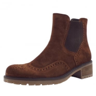 Imagine Brogue Style Wide Fit Ankle Boots in Whisky