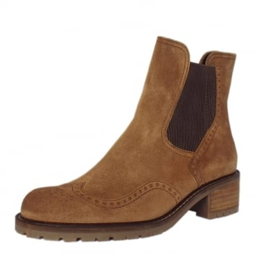 Imagine Women's Brogue Style Wide Fit Ankle Boots in Ranch Suede