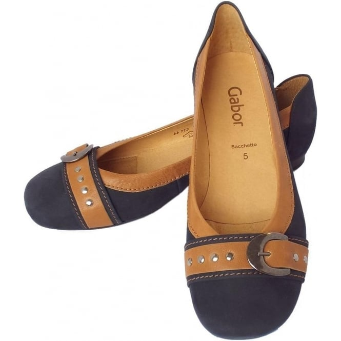 97adbda8a988 Gabor Indiana   Women s Casual Slip On Ballet Pumps in Navy and Tan