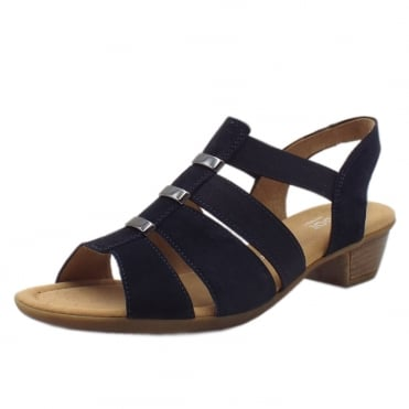 Joan Classic Lighweight Slip-On Sandals in Navy Suede