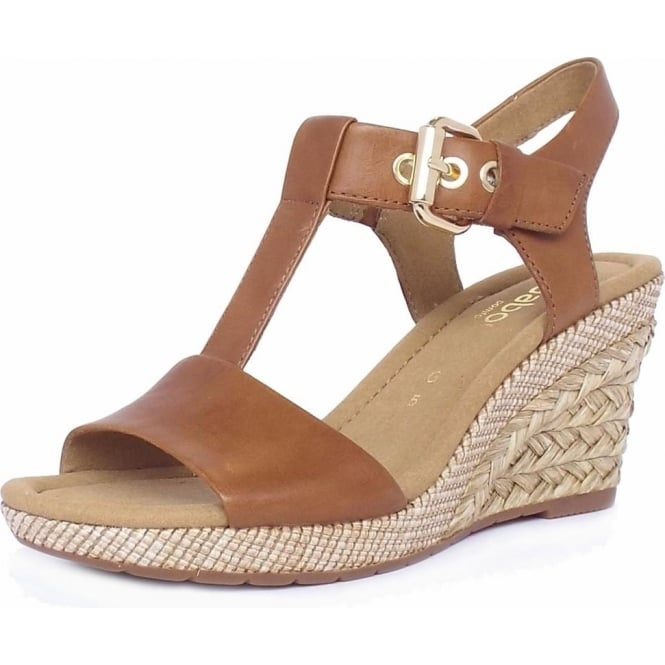 Karen Modern Wide Fit Wedge Sandals in Peanut 72ac5cab44bd