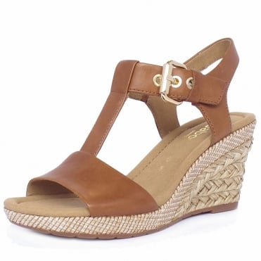 Karen Modern Wide Fit Wedge Sandals in Peanut
