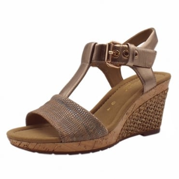 Karen Modern Wide Fit Wedge Sandals in Rose Gold
