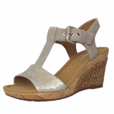 Karen Modern Wide Fit Wedge Sandals in Taupe
