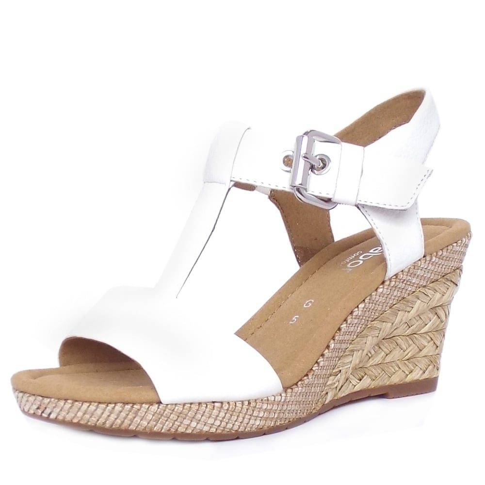 Gabor Karen Women S Modern White Leather Wedge Sandal