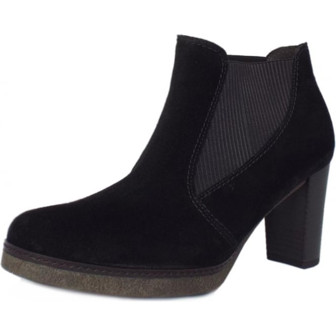 Gabor Kasi Women's Modern Mid Heel Ankle Boots in Black Suede