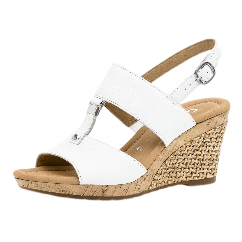 dd49955be0 Gabor Keira | Women's Modern White Leather Wedge Sandal | Mozimo