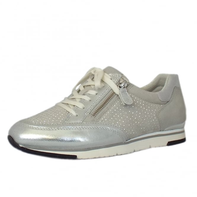 Gabor Kelsey Smart Sneaker Style Lace-up Trainers In Ice
