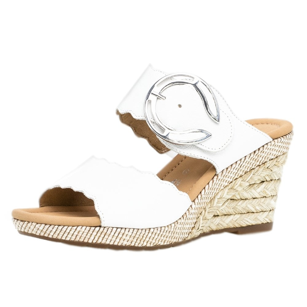07436af92e36 Kent Modern Wide Fit Wedge Sandals in White