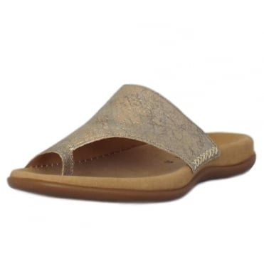 Lanzarote Comfortable Sandal Mules in Light Gold