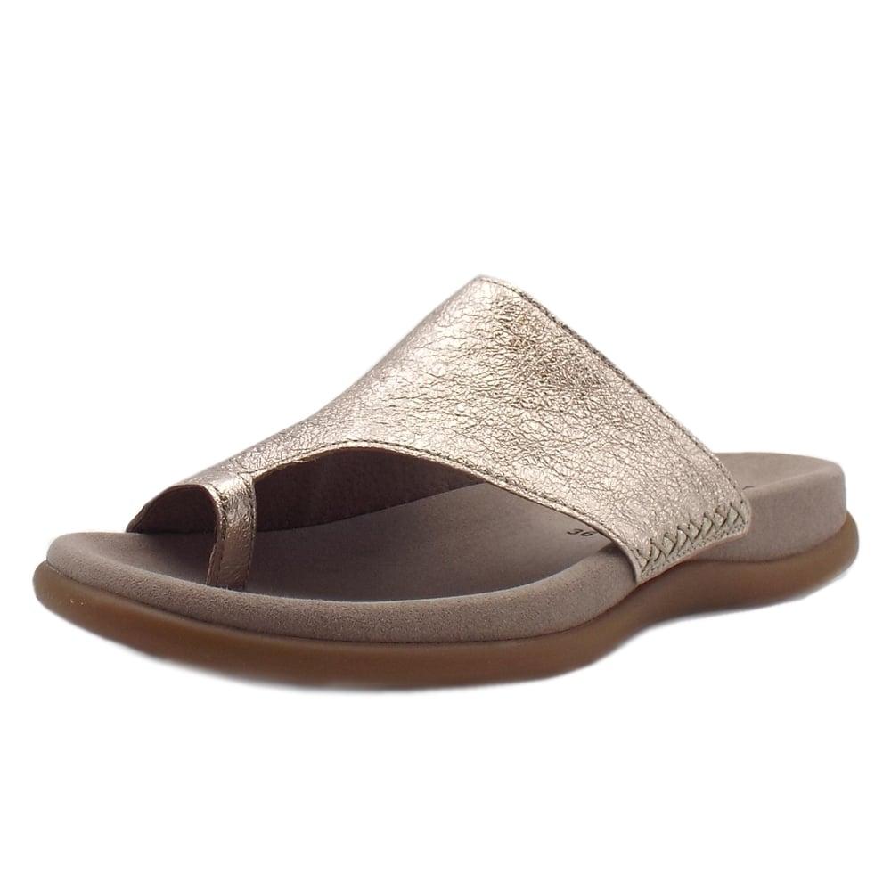03dc7c33526 Gabor Sandals   Lanzarote Mules in Mushroom Metallic Leather   Mozimo