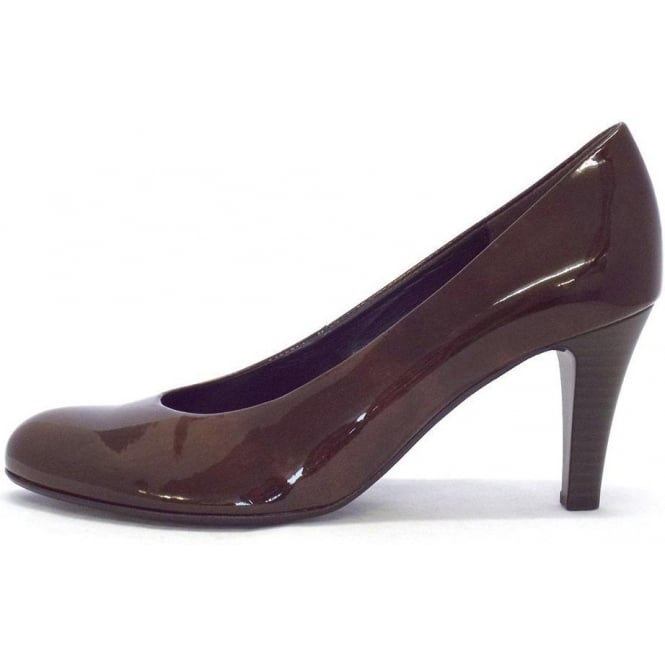 Gabor Lavender Court Shoe In Brown Patent