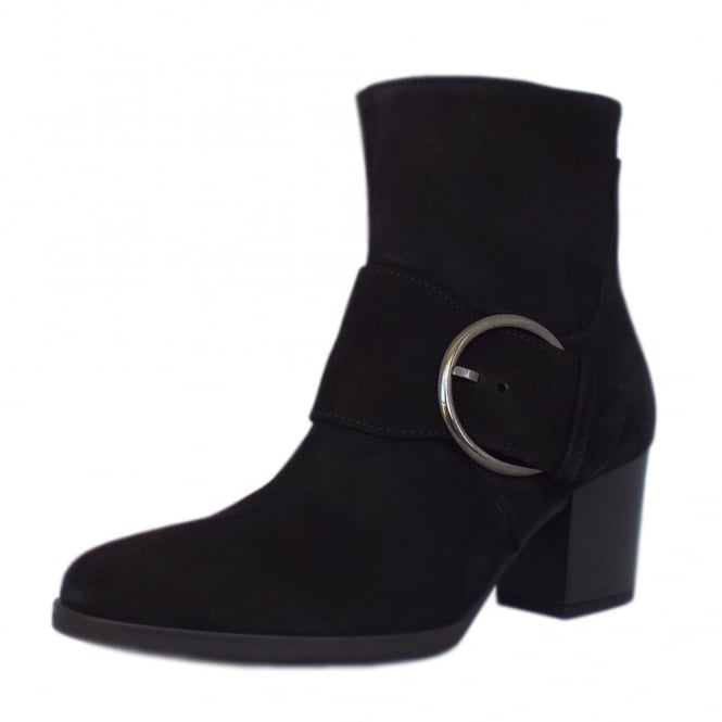 Gabor Lush Comfortable Fashion Ankle Boots in Black Suede