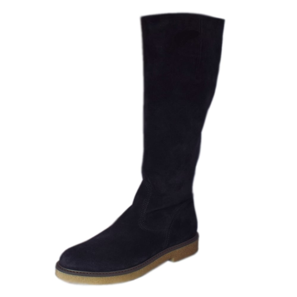 gabor nadine modern navy suede knee high boots mozimo