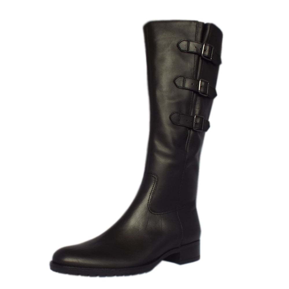 gabor modern black leather knee high boots mozimo