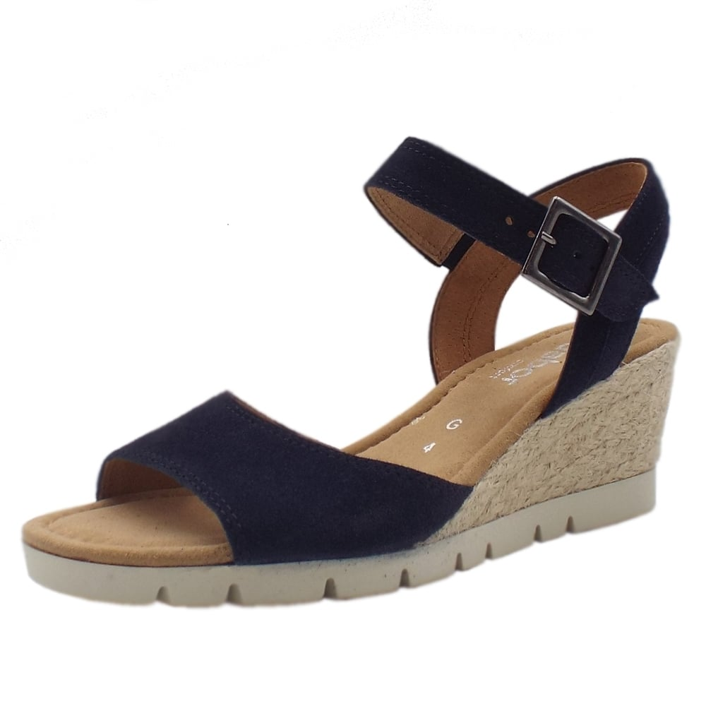 7d2cefc1af6 Gabor Nieve   Women's Comfortable Navy Suede Wedge Sandal   Mozimo