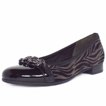 Ooh La La Women's Smart Casual Ballet Pumps In Anthracite Print Mix