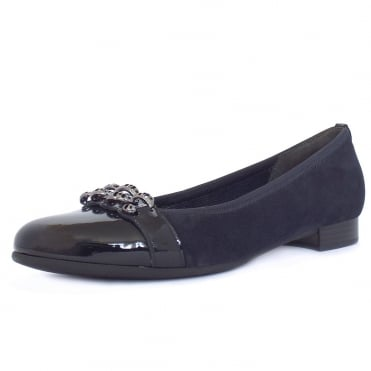 Ooh La La Women's Smart Casual Ballet Pumps In Navy Mix