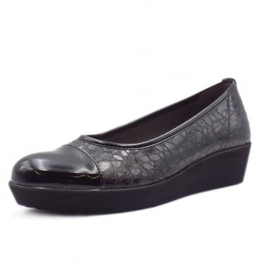 Orient Modern Wide Fit Wedge Pumps In Black Croc