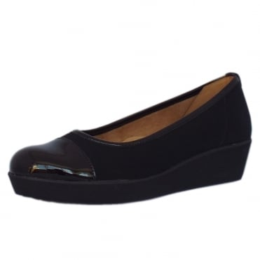 Orient Modern Wide Fit Wedge Pumps In Black