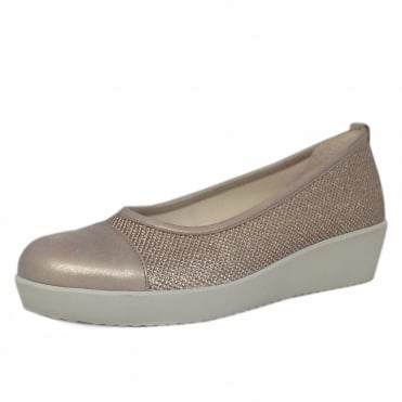 Orient Modern Wide Fit Wedge Pumps In Metallic