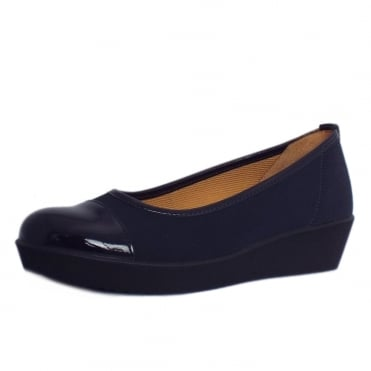 Orient Modern Wide Fit Wedge Pumps In Navy