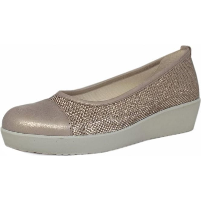 Mozimo Orient Modern Wide Fit Wedge Pumps In Pewter