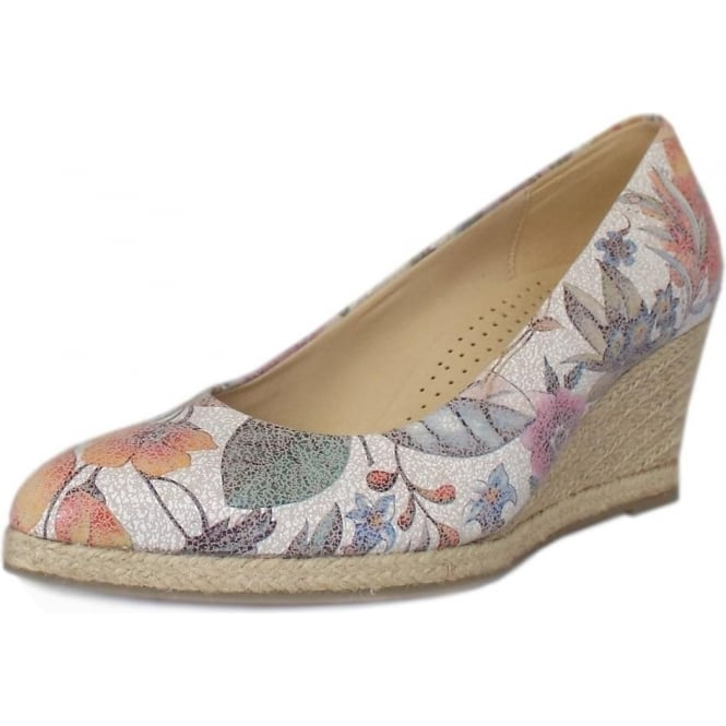 Gabor Paisley Floral Mid Wedge Pumps in Multi-Colour