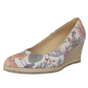 Paisley Floral Mid Wedge Pumps in Multi-Colour