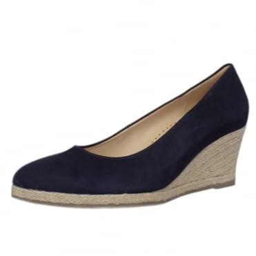 Paisley Suede Mid Wedge Pumps in Navy