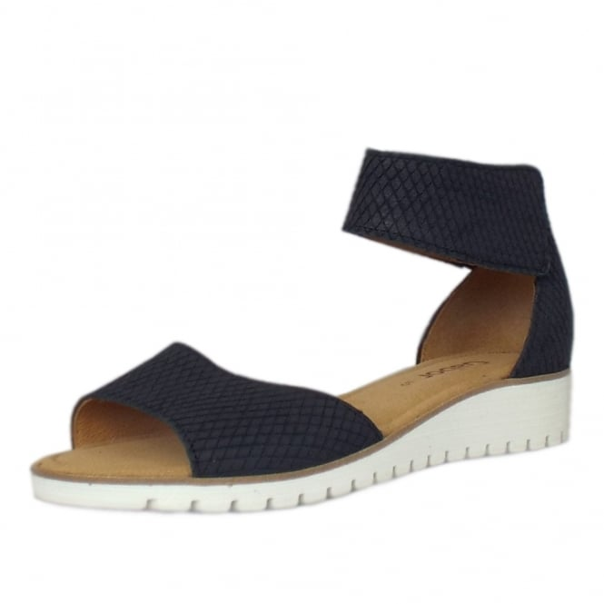 Gabor Penny Modern Wedge Ankle Strap Sandal in Night Blue