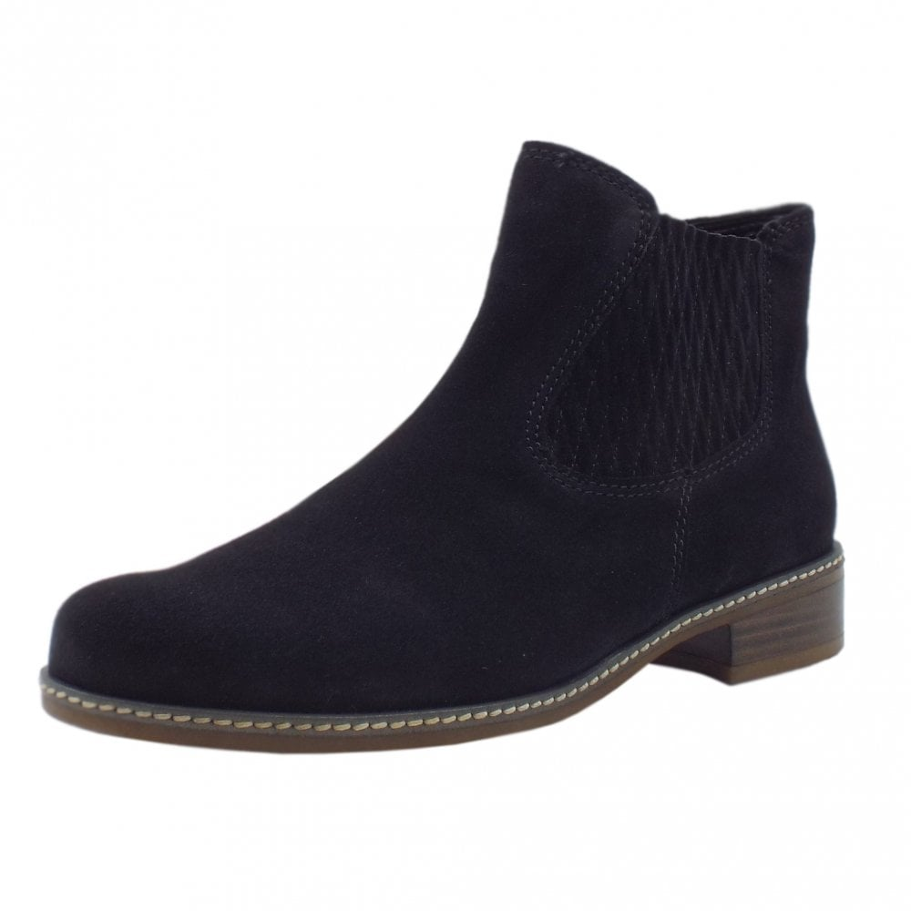 new style fe6f4 77463 Gabor Pescara Modern Wider Fit Ankle Boot in Navy Suede