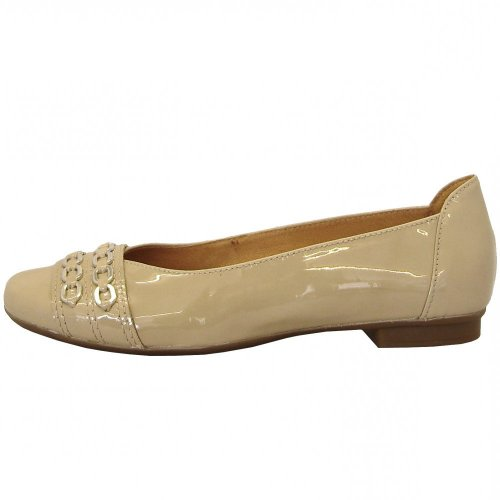 gabor shoes phyllis ladies ballet pump in beige patent. Black Bedroom Furniture Sets. Home Design Ideas