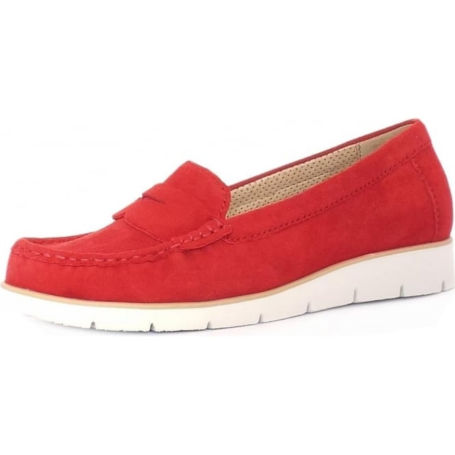 Gabor Portland Women's Casual Sporty White Sole Moccasins in Red