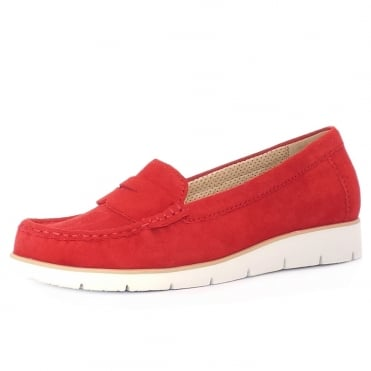Portland Women's Casual Sporty White Sole Moccasins in Red