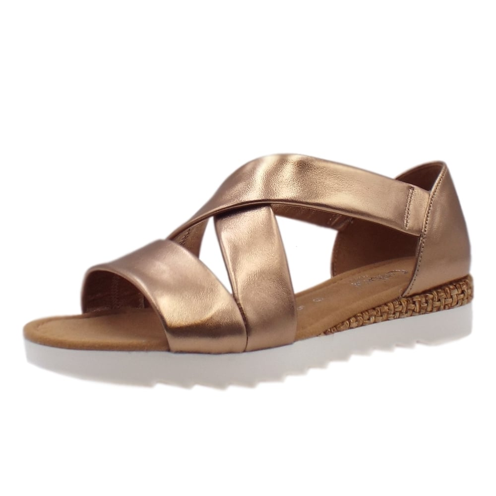 Fashion Rose Gabor Comfortable Promise Sandals In Gold D9E2HeWIYb