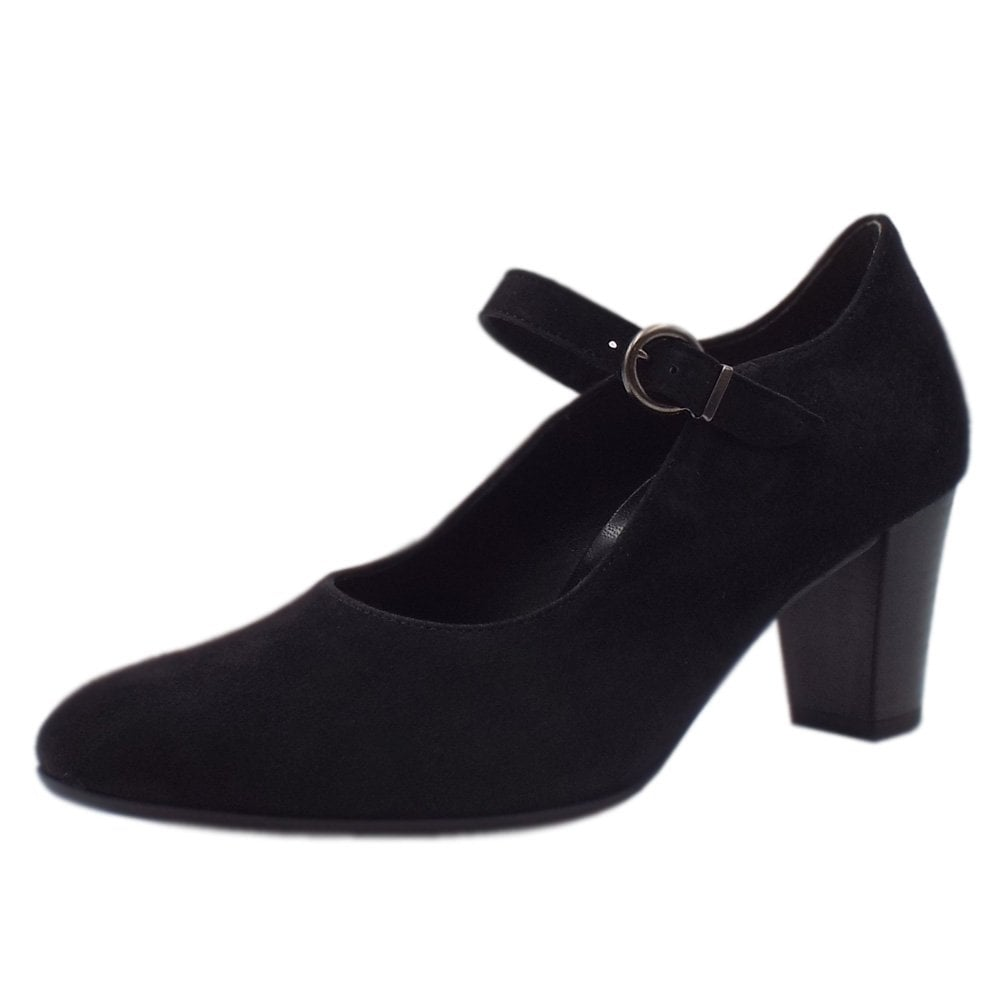 fa80420537d Pryce Modern Mary-Jane Style Court Shoes in Black Suede