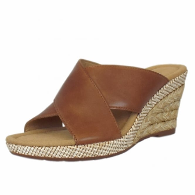 Gabor Purpose Modern Wide Fit Wedge Sandals in Peanut