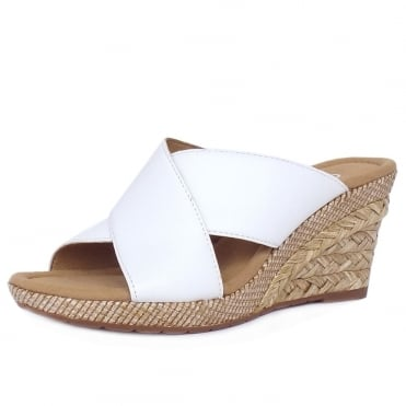 Gabor Purpose Modern Wide Fit Wedge Sandals in White