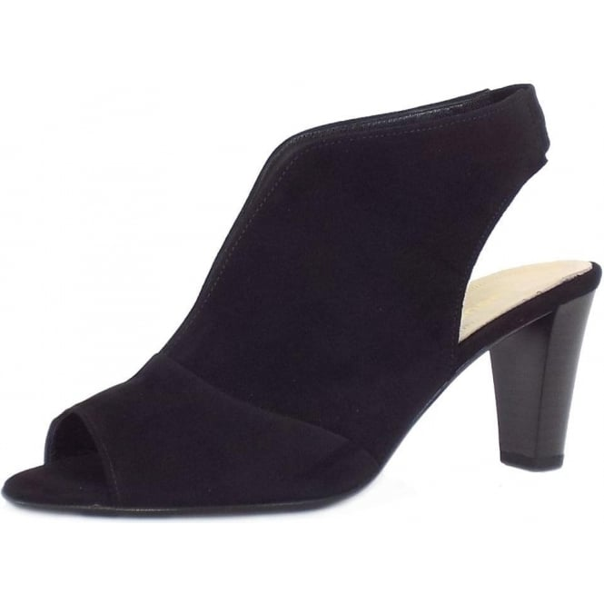 Gabor Range Modern High Cut Mid Heel Sandals in Black Suede
