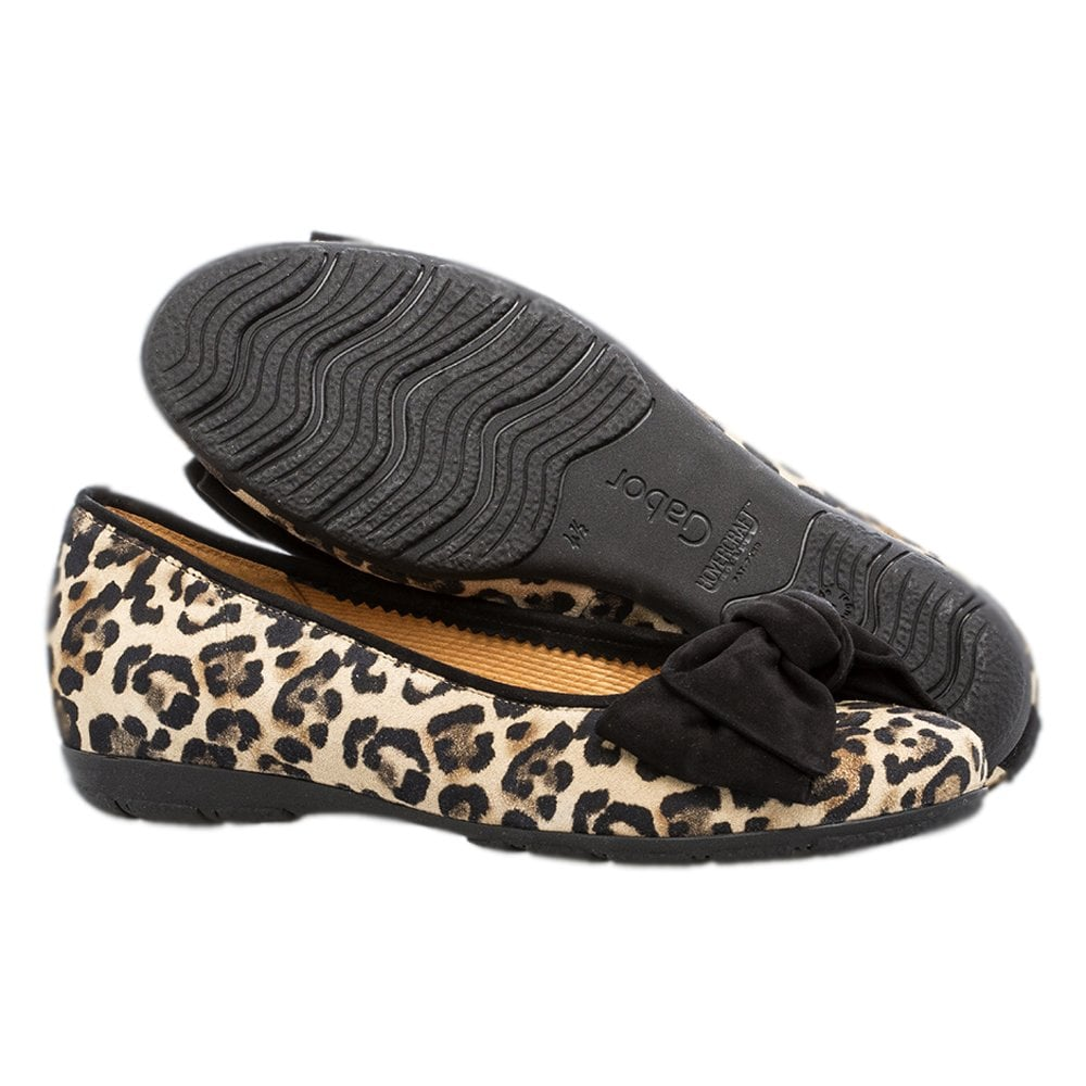 Gabor Redshank Modern Leather Ballet Pumps in Black Leopard