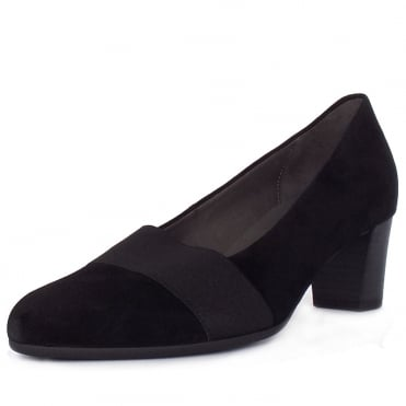 Respect Modern Mid Heel Court Shoes In Black Suede