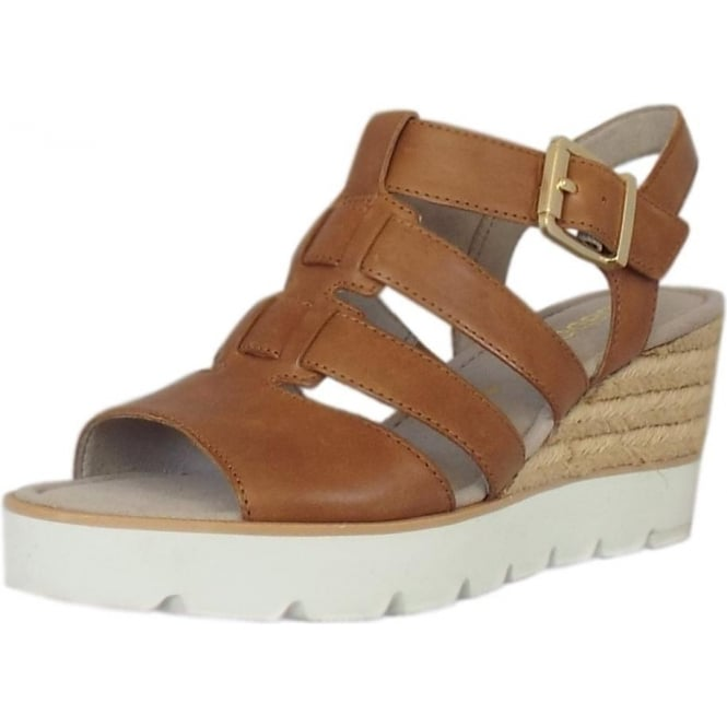 Gabor Rhona Modern 'T' Bar Wedge Sandal in Peanut