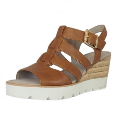 Rhona Modern 'T' Bar Wedge Sandal in Peanut