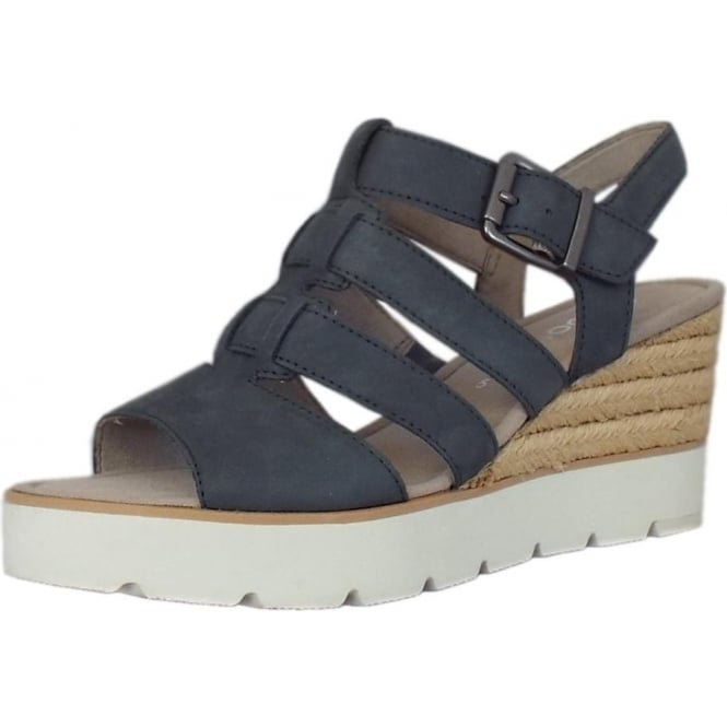 Gabor Rhona Modern 'T' Bar Wedge Sandal in River