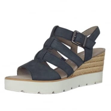 Rhona Modern 'T' Bar Wedge Sandal in River